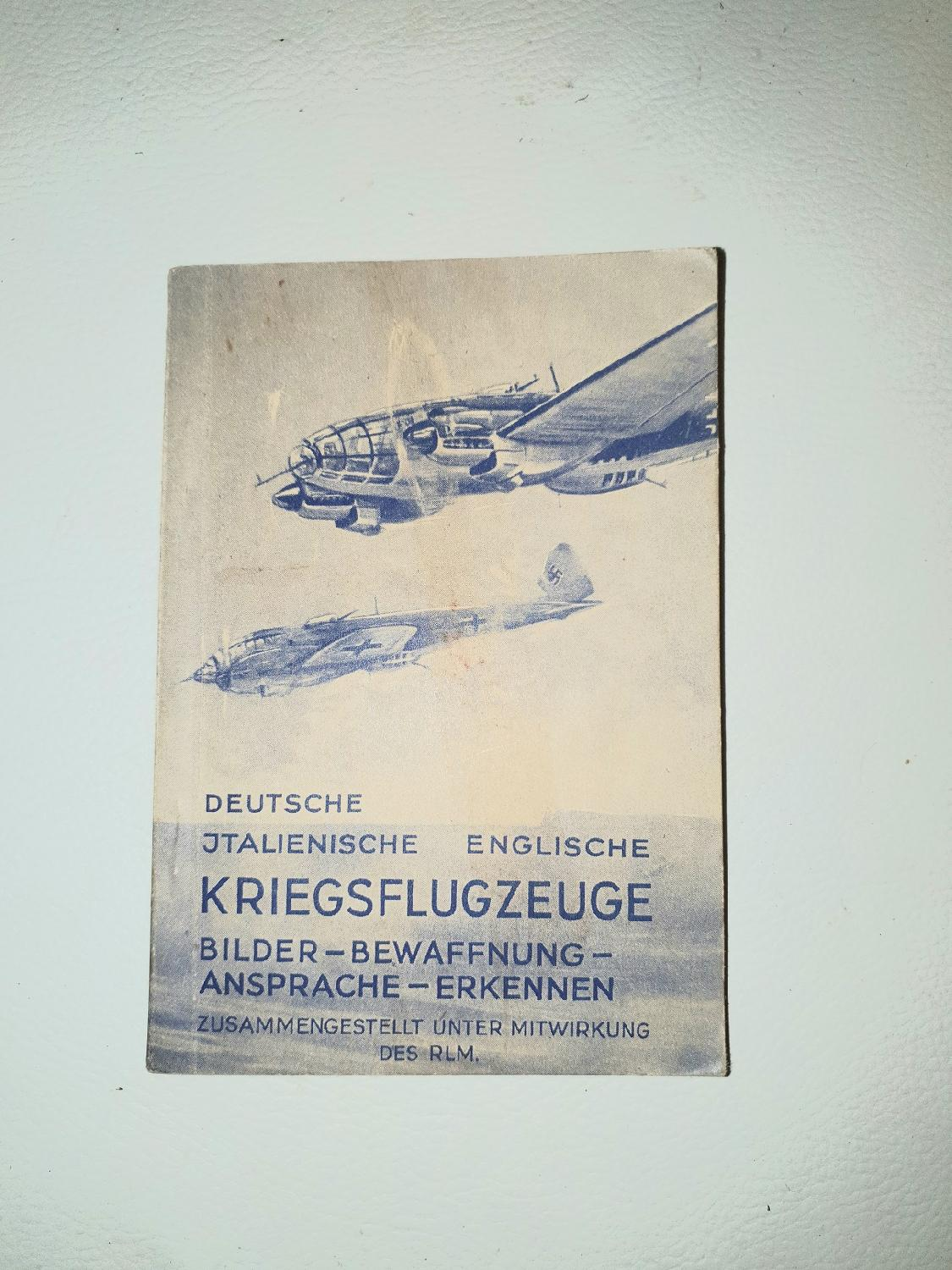 militaria : Livret allemand d instruction des  Avions combats JCP0418